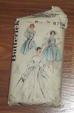Vintage 50's BUTTERICK 8704 WEDDING DRESS BRIDAL GOWN PROM Sewing Pattern B36