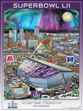 SUPER BOWL LII (Minneapolis 2018) Official NFL Pop Art EVENT POSTER by Fazzino