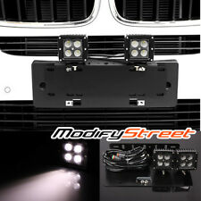 Front License Plate Holder Mounting Bracket + 2PC 12W PHILIPS LED Offroad Lights
