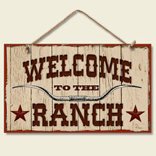Western Lodge Cabin Decor ~WELCOME TO THE RANCH~  Wood Sign W/ Cord