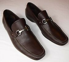 Salvatore Ferragamo Mens 8.5 1/2 EE Brown Leather Loafers Bit Shoes Made Italy