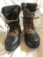 Sorel Boots Winter Snow Felt-lined Fawn Suede and Brown Rubber Size 7 Mens
