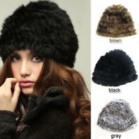 Popular Women's Winter Warm Rabbit Fur Hat Knit Ski Hat Beanie Cute Cap Beret