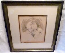 FATHER'S LOVE Baby ETCHING PRINT Framed Signed STANFORD SELKOW Ltd Ed C.O.A.