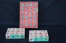 Ancien coffret bois jeu 24 cube en bois Alphabet mot chiffre domino