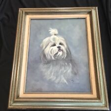 Fine Vintage Portrait of a Shih Tzu Dog Oil Painting Signed