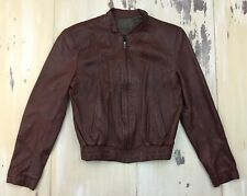 CAFE RACER - Vtg Brown Leather Motorcycle Racing Jacket, Ideal Zipper, Small 38