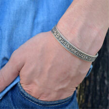 Viking Rune Bracelet Nordic Rune Bangle Mythology Cuff Bracelet Amulet Silver
