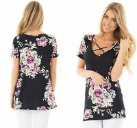 Women Black Short Sleeve Blouse V Neck Floral Top Beach T Shirt 8 10 12 14 16 18