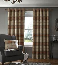 Catherine Lansfield Brushed Heritage Orange Check Thick Lined Eyelet Curtains