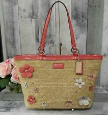 COACH #29861 Straw Patent Leather Flower Applique Top Zip Shoulder Bag Tote