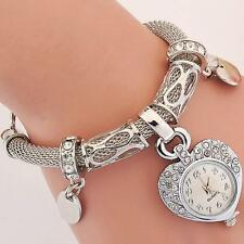 Love Dangle Women Bling Watches Pearl Bracelet Crystal Beaded Fashion Watches
