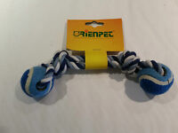 Blue and White - Knotted Rope and Ball Chew Toy- Great for dogs & puppies - 26cm