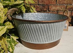 Zinc Metal Copper Detail Round Bowl Garden Planter with Rope Handles NEW