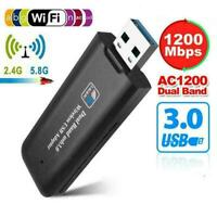 1200Mbps USB 3.0 Wireless WiFi Network Receiver Adapter Band Dongle E0J7 S7P1