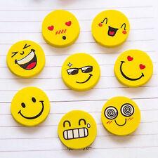 4pcs Kids Pencil Eraser Emoji Rubber Novelty Students Stationery Funny Toy Gift