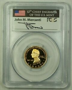 1996-W US Smithsonian Commemorative Proof Gold $5 Coin W/ John Mercanti Signatur