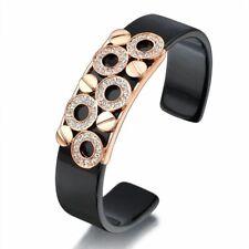 Women Black Plastic Bangle Cuff Crystal 18K Rose Gold GP Gift New B29