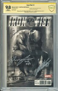 IRON FIST #1 B&W VARIANT 4X SIGNED BY DELL'OTTO, JONES, THOMAS, PERKINS CBCS 9.8
