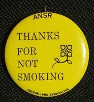 Thanks For Not Smoking Vintage ANSR Oregon Lung Association