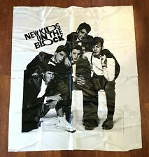 NKOTB New Kids On The Block Vintage Fabric Wall Hanging Tapestry 1990 White 80s