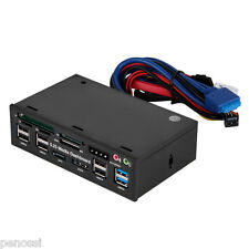 """5.25"""" e-SATA LCD Media Dashboard USB 3.0 All-in- 1 Front Panel PC Card Reader"""