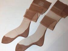 Lucky Circle Black Seamed Cuban Heel Vintage Bisque Beige Nylon Stockings 10 1/2