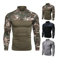Fashion Men Military Combat T-shirt Tactical Long Sleeve Shirt Hike Camouflage