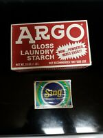 Vintage Argo Gloss Laundry Starch &Very Rare Sing Bar Soap