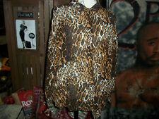 FLORA KUNG Wild Leopard Print Silk Button Down Blouse Size 10