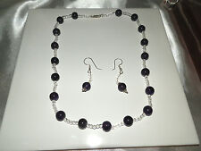 Natural Amethyst and Quartz Necklace with earrings..170 carats