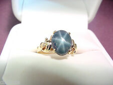 GENUINE BLUE STAR SAPPHIRE 3.16 CTS  HANDCRAFTED 14K GOLD VINTAGE RING