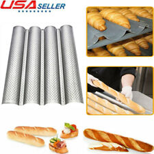 Non-stick Stainless Steel 4 Wave French Bread Baking Tray Baguette Bake Mold Pan