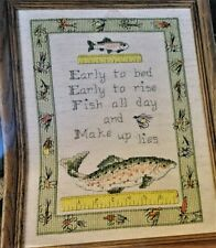 """Cross Stitch """"Early to Bed Early to Rise, Fish All Day & Make Up Lies"""" Leaflet B"""