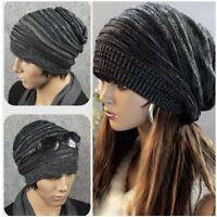 Mens Ladies Knitted Woolly Winter Oversized Slouch Beanie Hat Cap Ski Skateboard