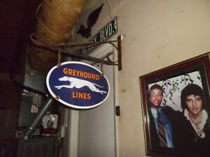 Greyhound Lines Double Sided porcelain sign