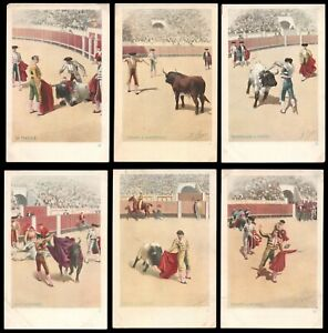 12 Antique MADRID SPAIN BULLFIGHTING Unposted UDB Postcards