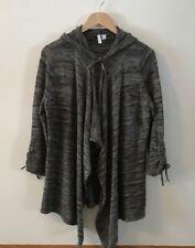 Women's Sweater Relativity Open Front Hoodie Grey & Tan Size Large