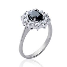 Ring Flower Sapphire Real Solid Silver 925/000 Rhodium Choice Sizes