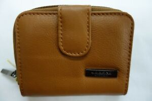 Genuine Leather Ladies Purse Wallet Small ideal for Small Bag Tan RFID Protected