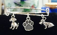 2 adorable Puppy dogs~Paw Print charms for Child/girl Expandable Bangle Bracelet
