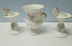 3 Vtg Bone China Blue Bird Décor Items: 2 Candle Holders & 1 Votive/Vase Taiwan