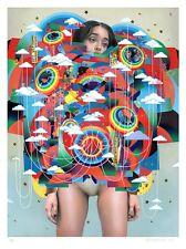 ERIK JONES Controller mint print poster woman girl lowbrow art signed rainbow