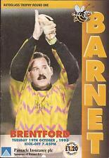 Football Programme - Barnet v Brentford - Autoglass Trophy - 1993