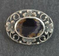 Rare Vintage Large BLUE JOHN and Solid Silver Brooch