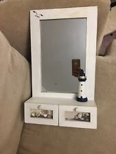 White Rustic Seaside Bathroom Wooden Wall Mirror Shelf Drawers Shell Lighthouse