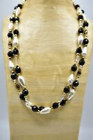 Vintage Nordstrom Statement Necklace NWT Faux Pearl Crystal Beaded Black Bin6