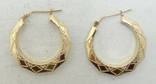 Beautiful 14K Yellow Gold Etched Faceted Hoop Latchback Earrings A6003