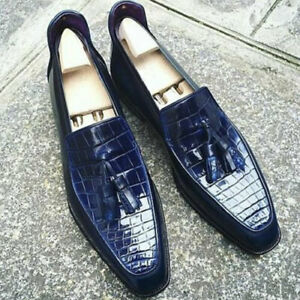 Handmade Mens Genuine Blue Leather Loafer Moccasin Tassel Shoes