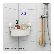 2 X IKEA TISKEN Corner Shelf Units With Suction Cups White Bathroom/Shower